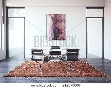 Two chairs opposite chief's desk. The concept of interview. 3d rendering