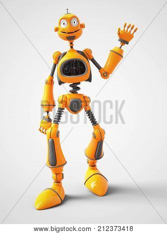 3D rendering of a yellow smiling cartoon robot waving hello. White background.