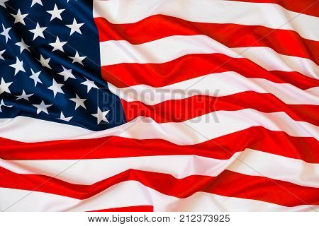Flag Of The Usa. Closeup Of Rippled American Flag. Nited States Of America Flag. Image Of The Americ