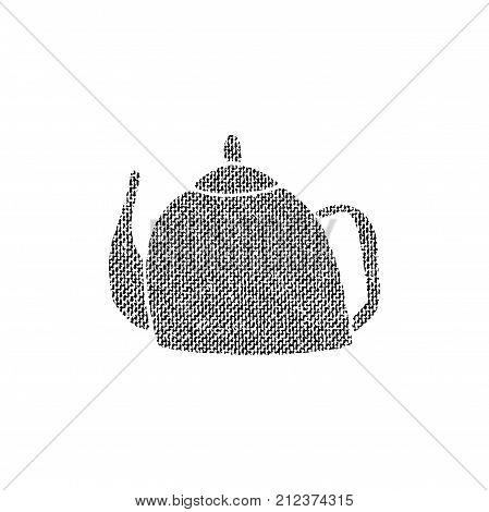 Vector textured teapot, stylized imprint on fabric. Black on white illustration, isolated element for holiday cards or stamp brushes creating. It will bring depth and vintage texture to any work.