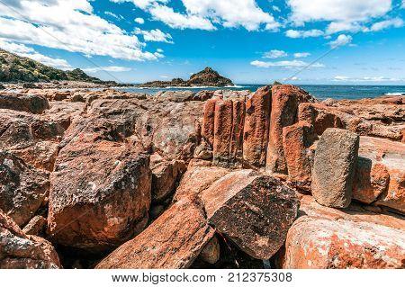 Unusual vivid rock formations in Mimosa Rocks National Park NSW Australia