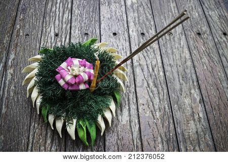 Beautiful natural material krathong of Thailand on wooden table stock photo