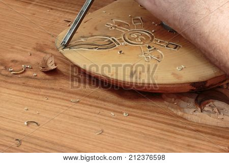 Hand of Carver Carving Wood with Chisel