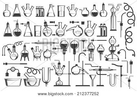 Chemical science design elements great set - equiment flasks retorts containers racks hoses and so on.