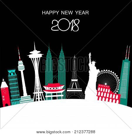 Happy New Year Travel background 2018 on black