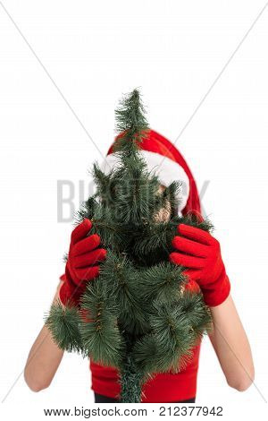 Woman In Santa Costume With Christmas Tree