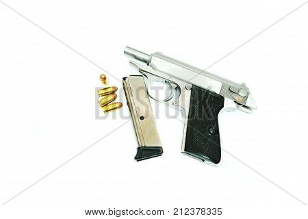Gun With Ammunition And Magazine Placed On White Background. Image For Weapon, Equipment, Danger Con