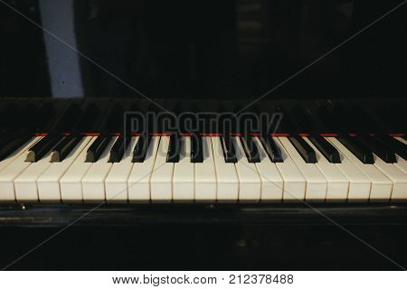 Grand Piano Has Piano Key Placed In Hallroom. This Image For Music, Artist, Art, Instrument, Enterta