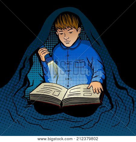Child reads the book at night with flashlight under blanket pop art retro vector illustration. Reading at night. Comic book style imitation.