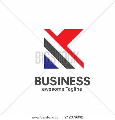 letter K logo simple design template Business corporate. letter k logo Square shape
