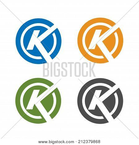 strong letter k with circle color logo concept, letter k colorful icon