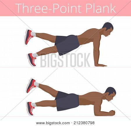 The sporty naked to the waist black young man is doing the three-point plank exercise. Flat illustration of afroamerican powerful adult boy is training in the plank postures. Vector active people set.