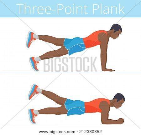 The sporty strong black young man is doing the three-point plank exercise. Flat illustration of afroamerican powerful adult boy is training in the plank postures. Vector active isolated people set.