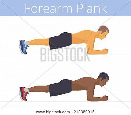 The sporty black and white young men are doing the forearm plank exercise. Flat illustration of caucasian and afro-american sporty boys are training in the plank position. Vector active people set.