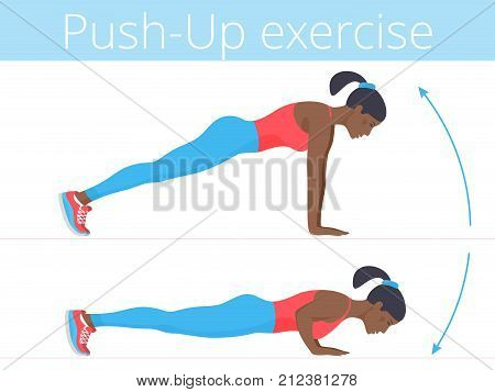 Beautiful young woman in sportswear is doing the push-up exercise. Flat illustration of afro-american sporty girl training in push up. Vector active people set for sport, fitness design, infographic.