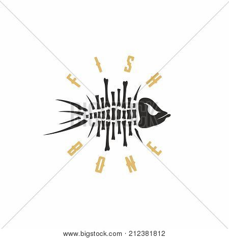 Modern vector professional sign logo fish bone.