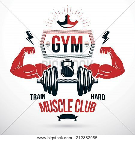 Graphic vector insignia created with strong sportsman biceps arm disc weight dumb bell and with kettle bell sport equipment. Bodybuilding weightlifting gym symbol sport template