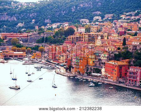 Panoramic view of French Riviera near town of Villefranche-sur-Mer Menton Monaco (Monte Carlo) Cote d'Azur French Riviera France