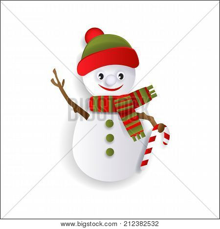 Funny snowman decoration element for Christmas greeting cards, flat style vector illustration isolated on white background, 3d paper cutout design. Flat snowman in hat and scarf, Christmas decoration