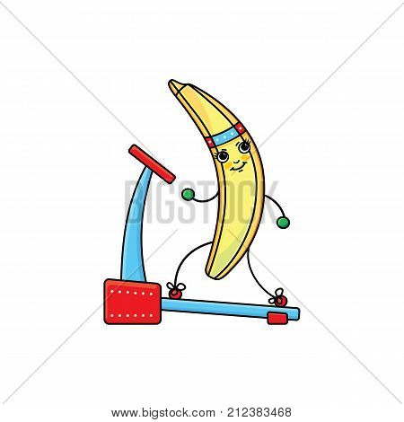 vector flat sketch yellow fresh ripe banana character with eyes, hands and legs running on treadmill. Isolated illustration on white background. Healthy vegetarian eating, dieting and sport lifestyle