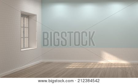 empty room 3D illustration clean white and blue wall interior background sunshine in the morning and evening in the room