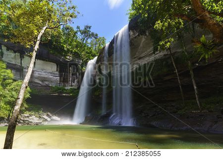 Beautiful Huai Luang Waterfall located inside Phu Chong Na Yoi National Park Ubon Ratchathani Thailand