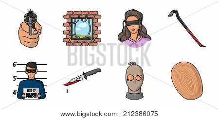 Crime and Punishment icons in set collection for design.Criminal vector symbol stock  illustration.
