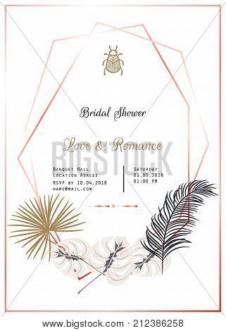 Bridal shower vector template design. Gold and black palm leaves decor, rose gold frames wedding invitation card.