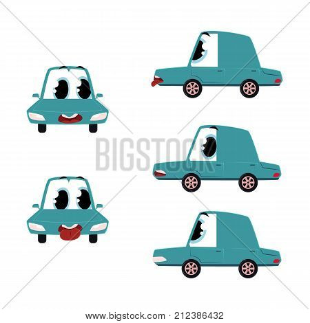vector flat cartoon funny car character with eyes with different emotions set. Autos sticking out its tongue, anxious, worried and surprized vehicles. Isolated illustration on a white background.