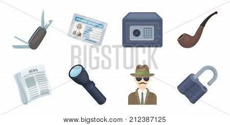 Detective and Attributes icons in set collection for design.Detective Agency vector symbol stock  illustration.