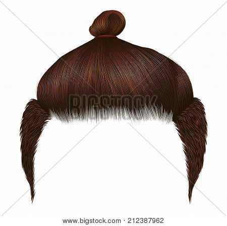 Trendy man hairs. Bun red ginger color. Beauty style. Realistic 3d.