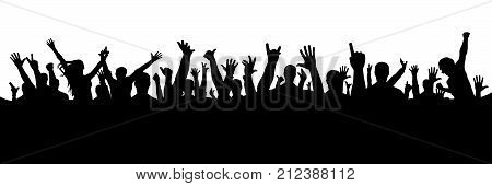 Hand crowd silhouette on white background, vector