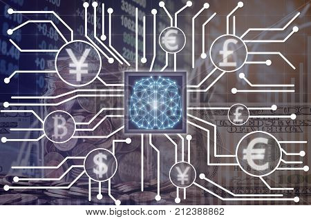 Abstract photo of FINTECH connection and Artificial intelligence of brain technology over the Stock market exchange data backgroundShowing the cryptocurrency or digital moneyFintech and AI concept, 3D illustration