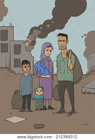 Family of refugees with two children on destroyed buildings background. Immigration religion and social theme. War crisis and immigration. Vertical vector Illustration characters.