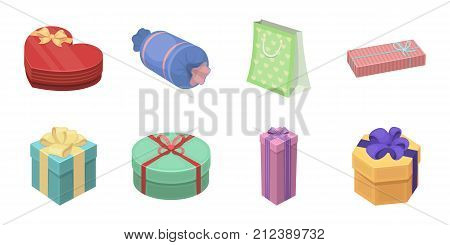 Gift and packing icons in set collection for design.Colorful packing vector symbol stock  illustration.