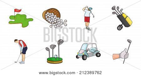 Golf and attributes icons in set collection for design. Golf Club and equipment vector symbol stock  illustration.