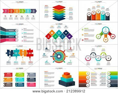 Vector arrows infographic, diagram chart, graph presentation. Business report with 3, 4, 5, 6, 7, 8, 9 and 10 options, parts, steps, processes. Squares, circles, pyramid, puzzle and timeline.