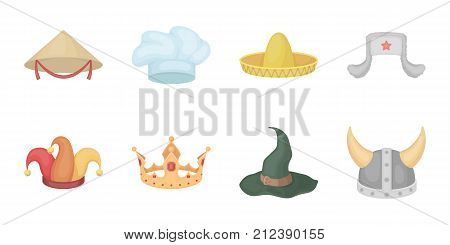 Different kinds of hats icons in set collection for design.Headdress vector symbol stock  illustration.