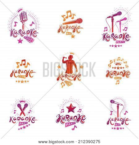 Set of vector emblems and leaflets created using musical notes stage and recorder microphones and other audio equipment. Live music concert and karaoke invitation posters.