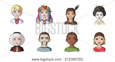 The human race icons in set collection for design. People and nationality vector symbol stock  illustration.
