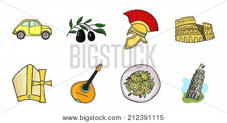 Country Italy icons in set collection for design. Italy and landmark vector symbol stock  illustration.