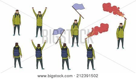 Set of tourist figure with a blue flag, red flare and a backpack on the white background. Hiker sending out SOS. Traveling outdoors. Horisontal vector illustration. Isolated cartoon characters.