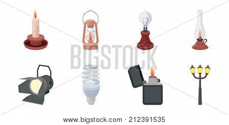 Light source icons in set collection for design. Light and equipment vector symbol stock  illustration.