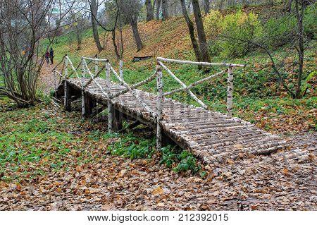 Birch bridge in the estate of Count Leo Tolstoy in Yasnaya Polyana.