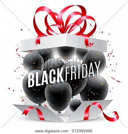 Black friday sale announcement in opened gift box