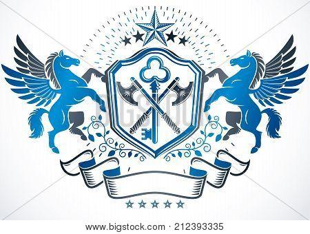 Vintage decorative emblem composition created using graceful Pegasus pentagonal stars and hatchets heraldic vector.