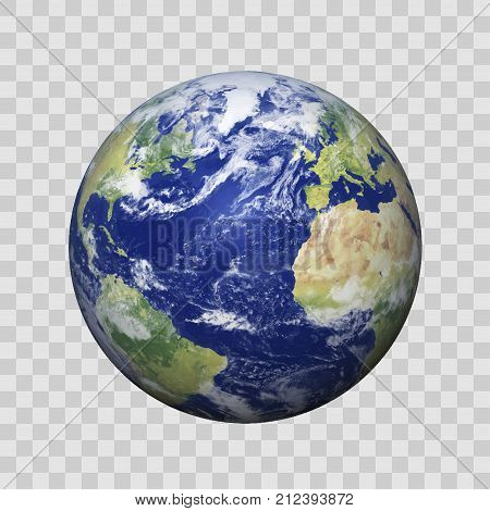Realistic Earth with shadow on isolated background vector eps10. Elements of this vector furnished by NASA