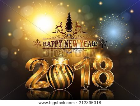 Happy New Year 2018  background / greeting card with Brightly Colorful Fireworks and colorful lights, on twilight background.