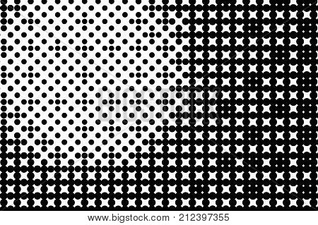 Abstract monochrome halftone pattern. Comic background. Dotted backdrop with circles, dots, point. Design element for web banners, posters, cards, wallpapers, sites. Black and white color