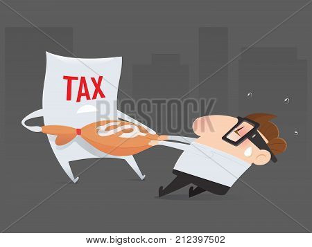 The cartoon businessman is pulling his money return from tax organization Tax return Vector illustration